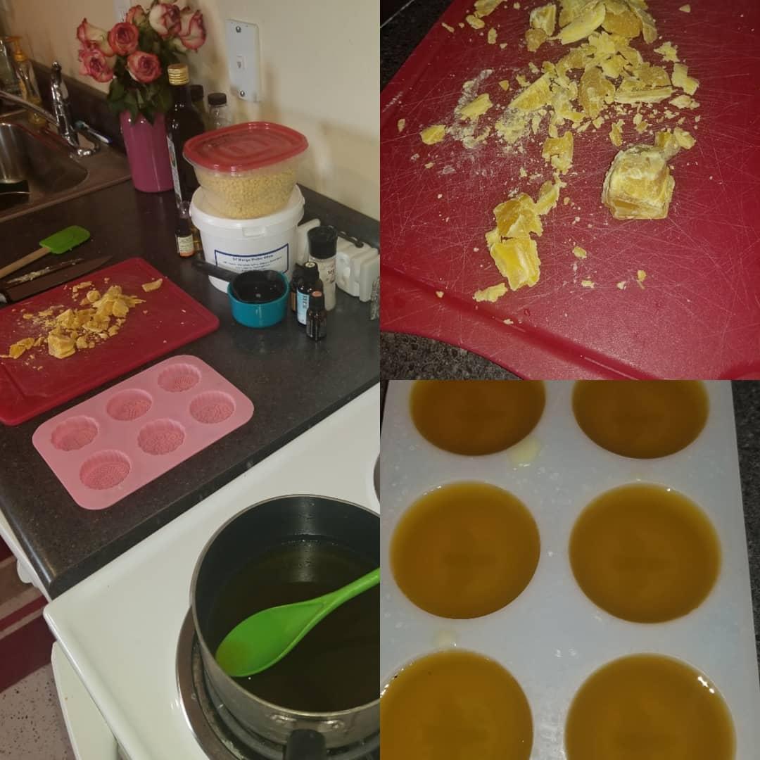 Making beeswax lotion bars