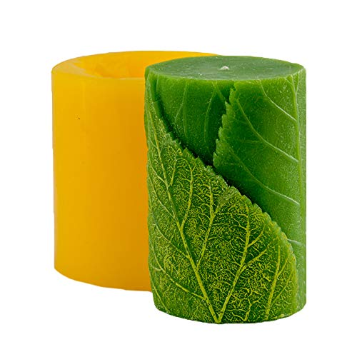 Silicone Cylinder With Leaves Candle Mold