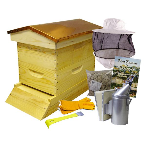 Deluxe Copper Top Backyard Beehive Starter Kit