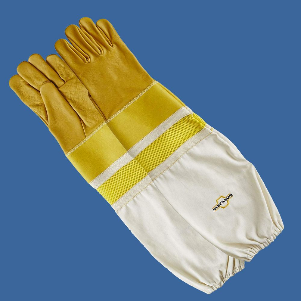Cowhide Beekeeping Gloves - Ventilated Sleeves - Sting Proof Cuffs - Extra Long Extra Long Twill Elasticated Gauntlets